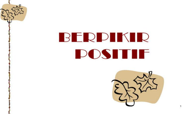 Orang sukses selalu berfikir positif